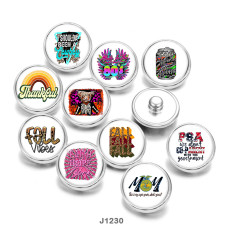 20MM  MOM  words  Print   glass  snaps buttons