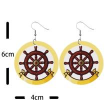 Ship rudder marine compass Leather Earrings