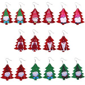 Christmas tree santa claus Leather Earrings
