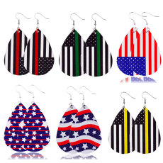 Independence day leather earrings national flag