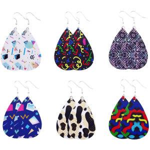 Leopard color pattern pop Leather Earrings