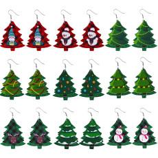 Christmas Santa Snowman Elk Leather Earrings