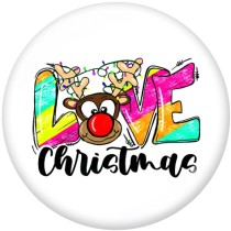 20MM  Christmas  Deer  Santa Claus   Print  glass  snaps  buttons