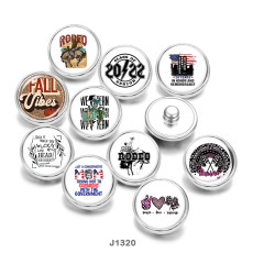 20MM  Rodeo MOM Love peace  Print  glass  snaps  buttons