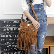 Autumn and winter new style crossbody handbags trendy European and American fashion Xi Shi velvet rivet tassel bag wild shoulder bag fit 18mm chunks