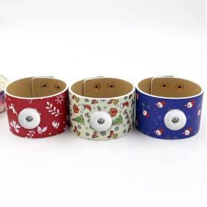 New Printed Christmas Pattern Bangle Fashion PU Wide Leather Bracelet fit18&20MM  snaps jewelry