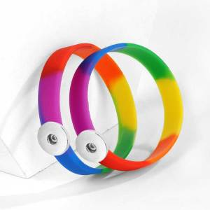 Silicone bracelet GAY rainbow color gay Elasticity fit 18-20mm snaps LGBT