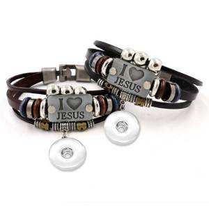 JESUS letter beaded leather bracelet fit18&20MM  snaps jewelry