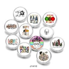 20MM  Christmas  love  Santa Claus  Print  glass  snaps  buttons
