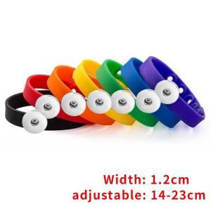 Multicolor adjustable silicone bracelet Elasticity fit 18-20mm snaps