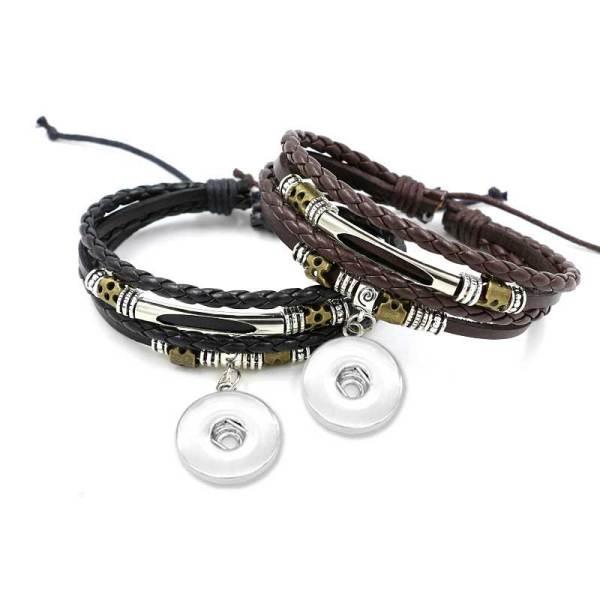 Mehrschichtiges handgemachtes perlengewebtes Armband passend für 18 & 20 MM Druckknöpfe Schmuck