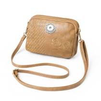 Women's bag multi-function multi-pocket zipper embroidery ladies messenger shoulder bag fit 18mm chunks