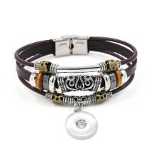 20.5 CM Vintage hecho a mano de cuero pulsera con hebilla de correa con cuentas pulsera unisex fit18 y 20 MM broches de joyería