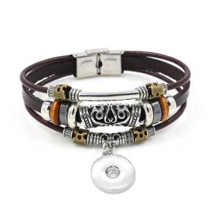 20.5CM Vintage handmade leather beaded strap buckle bracelet unisex bracelet fit18&20MM  snaps jewelry