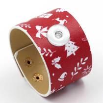 Nuevo brazalete con estampado navideño a la moda, pulsera de cuero ancho de PU, joyería con broches de presión de 18 y 20 mm
