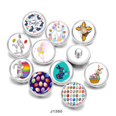 20MM  happy easter  rabbit  Cross  Print  glass  snaps  buttons