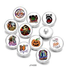 20MM   Halloween  Cat  skull   Print  glass  snaps  buttons