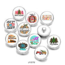20MM  Christmas  Thanksgiving  Print  glass  snaps  buttons
