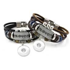 Letter Love simple pulsera de cuero con cuentas de múltiples capas fit18 y 20MM broches de presión