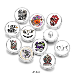 20MM   Halloween  skull   Print  glass  snaps  buttons