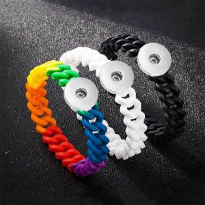 1 snap button bracelet  Silicone Rainbow fit 18-20mm snaps