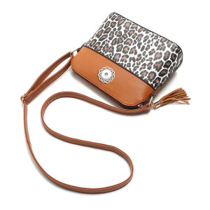 Bags new handbags leopard print hit color stitching shell bag tassel shoulder messenger bag fit 18mm chunks