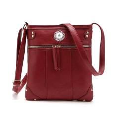 New European and American fashion handbags, new rivet crossbody handbags, front pockets, copper zipper shoulder messenger bags fit 18mm chunks