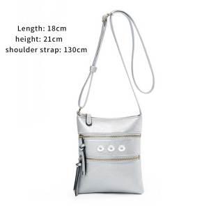 Hot-selling casual multifunctional pocket double zipper vertical female bag shoulder bag messenger bag fit 18mm chunks