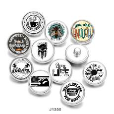 20MM  USA  Flag  Jeep  skull   Print  glass  snaps  buttons