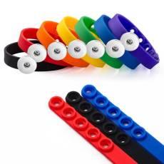 Pulsera de silicona ajustable multicolor Ajuste elástico con broches de presión de 18-20 mm