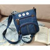 New classic European and American style casual bag tannin blue denim front pocket one-shoulder diagonal female bag fit 18mm chunks