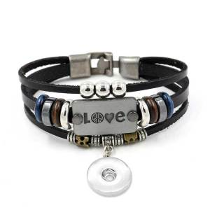 Letter Love simple multi-layer beaded leather bracelet fit18&20MM  snaps jewelry