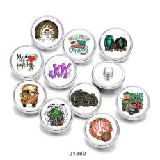 20MM  Christmas  Halloween  Print  glass  snaps  buttons