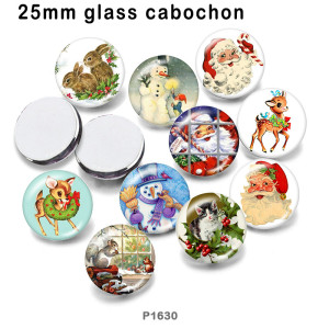 10pcs/lot  Christmas Deer  Cat  glass picture printing products of various sizes  Fridge magnet cabochon
