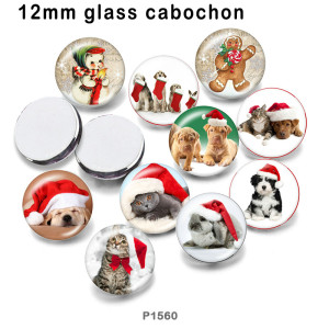 10pcs/lot Christmas Cat  Dog  Snowman  glass picture printing products of various sizes  Fridge magnet cabochon