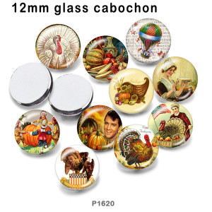 10pcs/lot  Thanksgiving glass picture printing products of various sizes  Fridge magnet cabochon