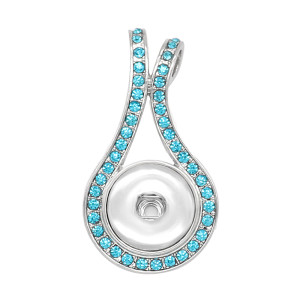 snap sliver Pendant Blue rhinestones  fit 20MM snaps style jewelry