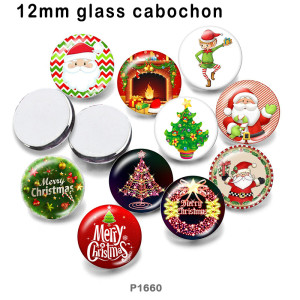 10pcs/lot  Christmas  tree  glass picture printing products of various sizes  Fridge magnet cabochon