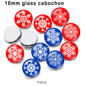 10pcs/lot Christmas  snowflake  glass picture printing products of various sizes  Fridge magnet cabochon