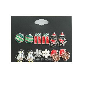 Weihnachtsohrring-Geschenkset, Geschenktier-Schneeflocke-Legierung
