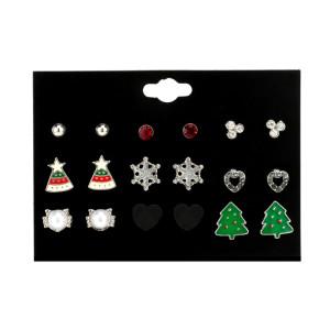 Christmas 9 pairs set earrings Christmas series snowflake Christmas hat alloy fashion simple earrings women