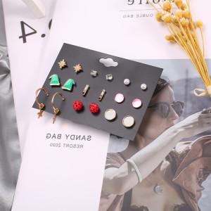 Christmas 9 pairs set earrings Christmas hat alloy simple and popular earrings women
