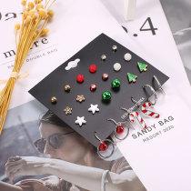 Weihnachten 12 Paar Set Ohrringe Weihnachtsbaum-Legierung fünfzackige Stern-Ohrstecker