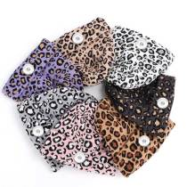 Women's autumn and winter new fashion leopard print woolen hat casual double-layer warm knitted hat fit 18mm snap button