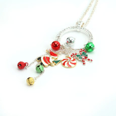 Christmas Necklace Long Chain with Hanging Alloy Santa Hat Gift Knot Bell Holiday  65CM Necklace