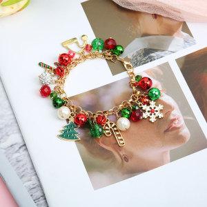 Christmas Bracelet, Pearl Bell, Diamond Ball, Crystal Bead, Snowflake Christmas Tree Alloy Gift Bracelet