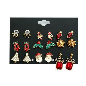 Weihnachtsohrringe Set Kombination Elch Geschenk Stick Schleife Knoten Hut Baum Alter Mann Legierung Trend Ohrringe