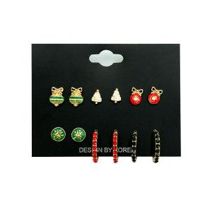 Weihnachtsohrring-Set Kleine und exquisite Farblegierung voller Diamantohrringe Temperament einfache Ohrringe