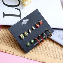 Juego de aretes de Navidad Pendientes de diamantes llenos de aleación de color pequeño y exquisito temperamento aretes simples