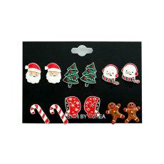 Juego de aretes navideños Juego de aretes de aleación para hombre viejo Árbol de muñeco de nieve Sombrero Biscuit Man